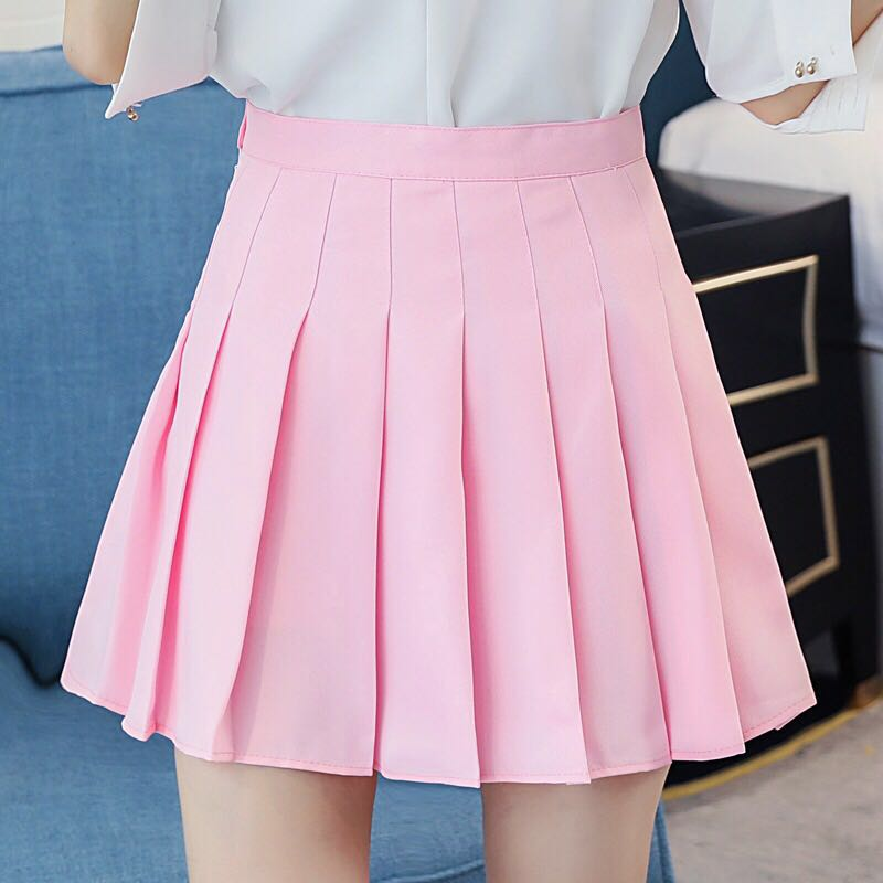XS-XXL Twelve Colors High Waist Women Pleated Skirt Student A-Line Skirt Spring Summer Slim Plaid Skirt Safety Pants Mini Skirt