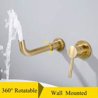 Brushed Golden Matte Faucets Concealed Bathroom Sink Tap Gold Copper Basin Faucets Mixer Hot Cold Water Taps Brass Wall Mounted