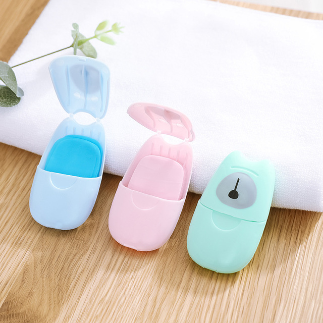 50PCS Soap Paper Convenient Cute Washing Hand Bath Soap Flakes Mini Cleaning Soap Sheet Travel Convenient Disposable Box TSLM1 3