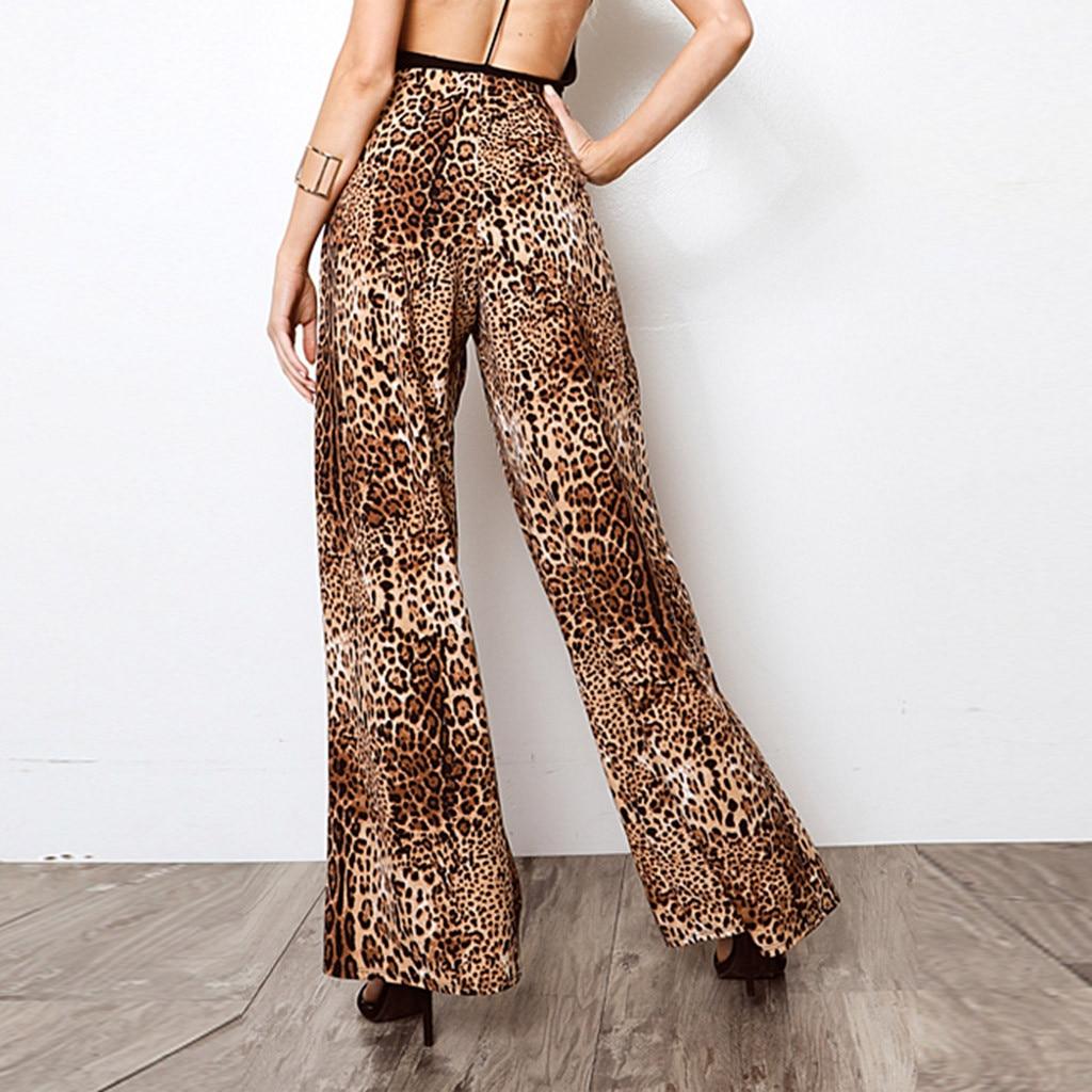 Leopard   Pants   Women Summer 2019 High Waist Spilt Printed   Wide     Leg     Pants   Summer Trousers Women Pantalones Mujer Cintura Alta