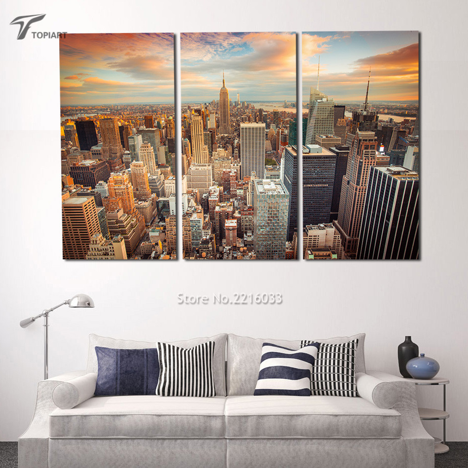 large modern city wall painting new york sundown canvas art print 3 piece landscape cityscape big apple decor pictures no frame
