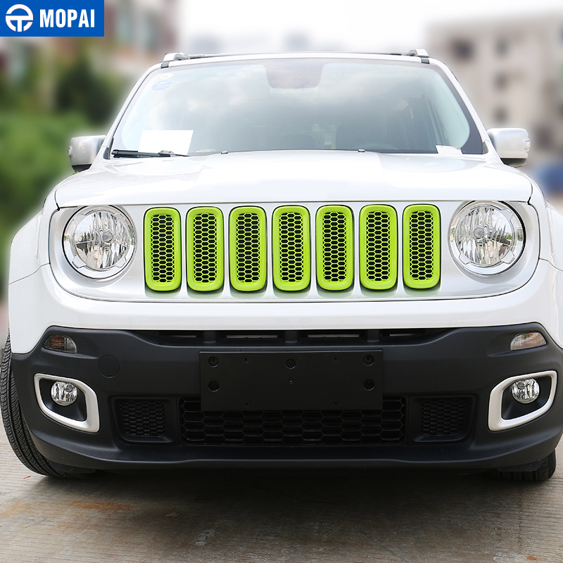 Image 5 - MOPAI ABS Car Exterior Front Insert Grille Cover Decoration With Net Stickers For Jeep Renegade 2015 2017 Car Styling-in Styling Mouldings from Automobiles & Motorcycles