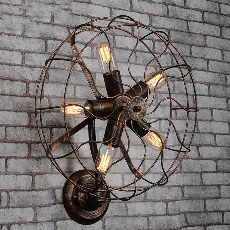 Винтажная настенная лампа с лампочкой Эдисона, кантри, промышленный стиль, кованый вентилятор, складские Настенные светильники для кафе, ба