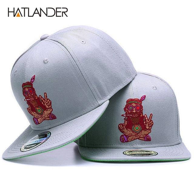 HATLANDER ORIGINAL tapa sombrero para los hombres y las mujeres gorras de  béisbol bordado personaje de hueso sólido hip hop gorra gris equipado  snapback ... 4633b3a0266