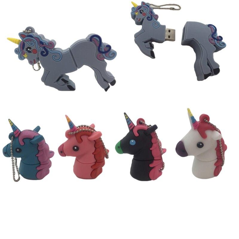USB 64G Cartoon Cute Unicorn Flash Drive 32GB Pen Drive Horse USB Stick font b External