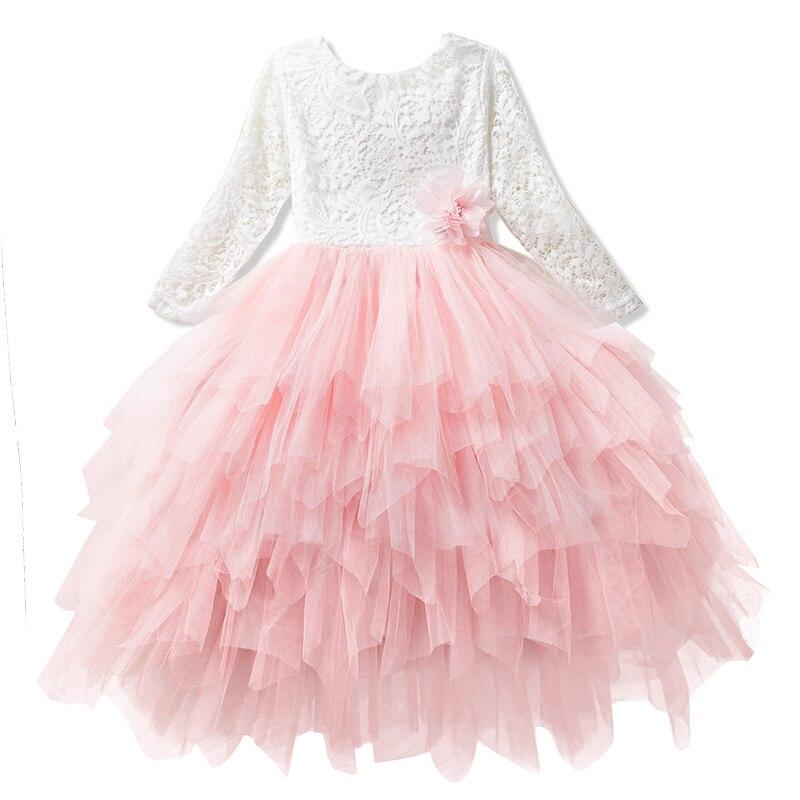 Vestidos de flores para niña, vestido de pastel rosa de verano para niños pequeños, vestido de tutú de boda con espalda en V, vestidos de fiesta para niña pequeña 8T