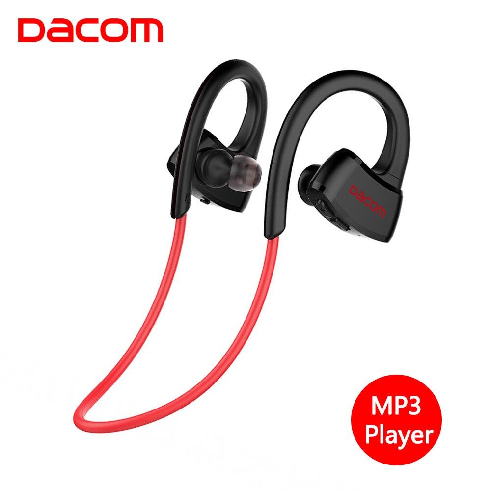 DACOM Беспроводной гарнитура Bluetooth IPX7 Водонепроницаемый спортивные наушники встроенный MP3 плеер Bluetooth наушники с микрофоном для iPhone