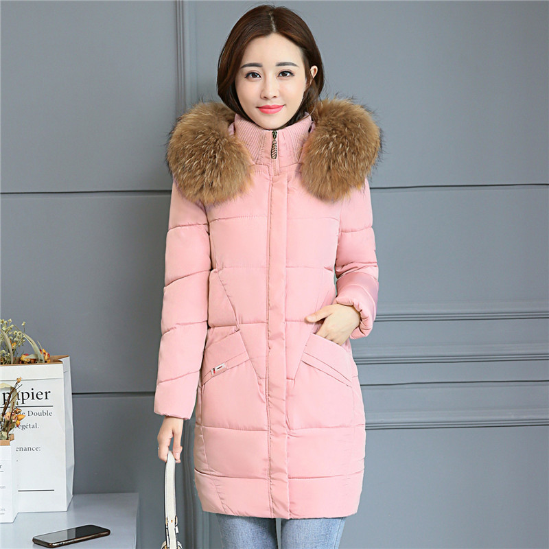 women winter hooded warm coat cotton padded jacket female long parka pink color