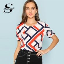 Sheinside Geometric Roll Up Sleeve Workwear Tops Office Ladies Regular Fit Keyhole Back Colorblock Women Summer Casual Blouse