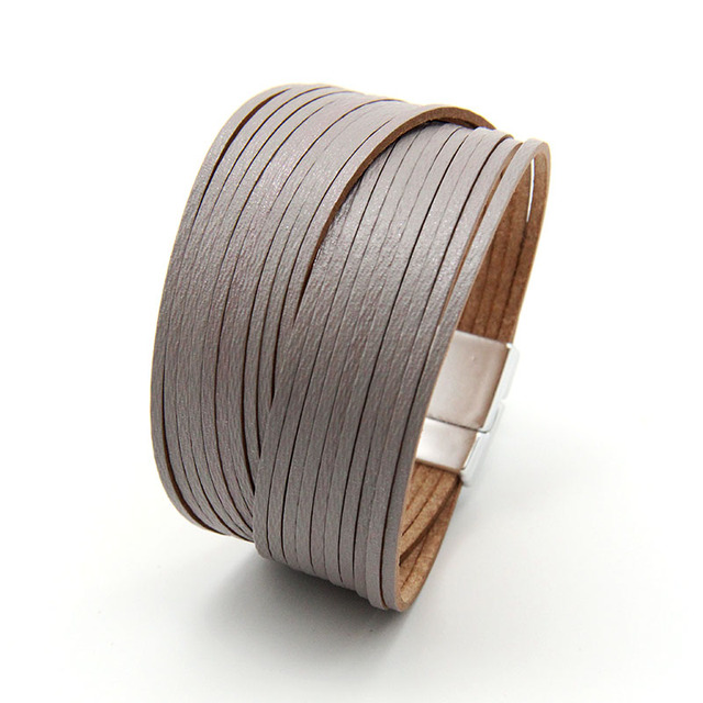 3mm mini leather strip combination women bracelet winter color designs jewelry for women and girls