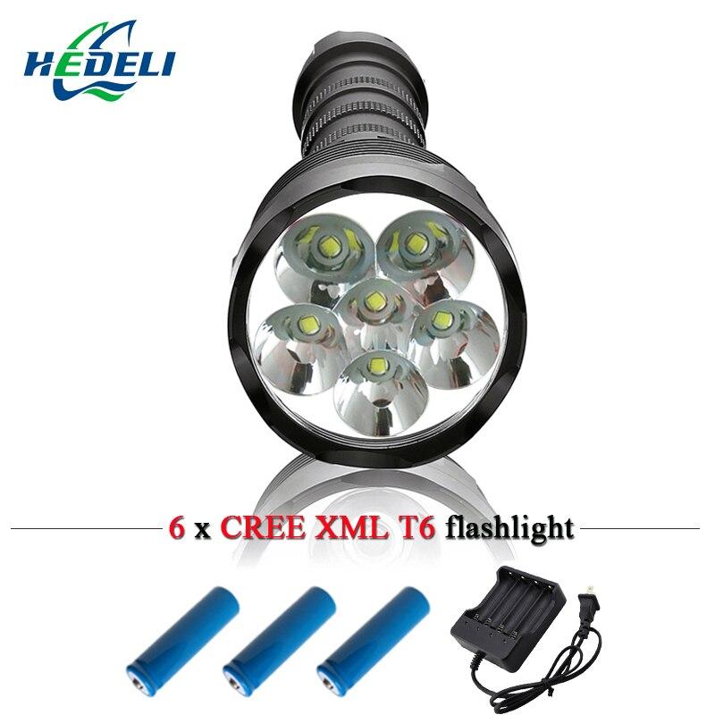 Tactique forte lumière lampe de poche LED longue poignée patrouille camp CREE XML T6 multi-fonction lampe de poche peut être démonté 18650.