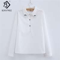 Women Blouse 2017 New Fashion Autumn Casual Long Sleeve Cotton Preppy Turn Down Collar Embroidery Womans