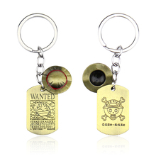 ONE PIECE Wanted Poster Key Chain Luffy Hat Rudder Rings For Gift Chaveiro Car Keychain Jewelry Anime Holder Souvenir
