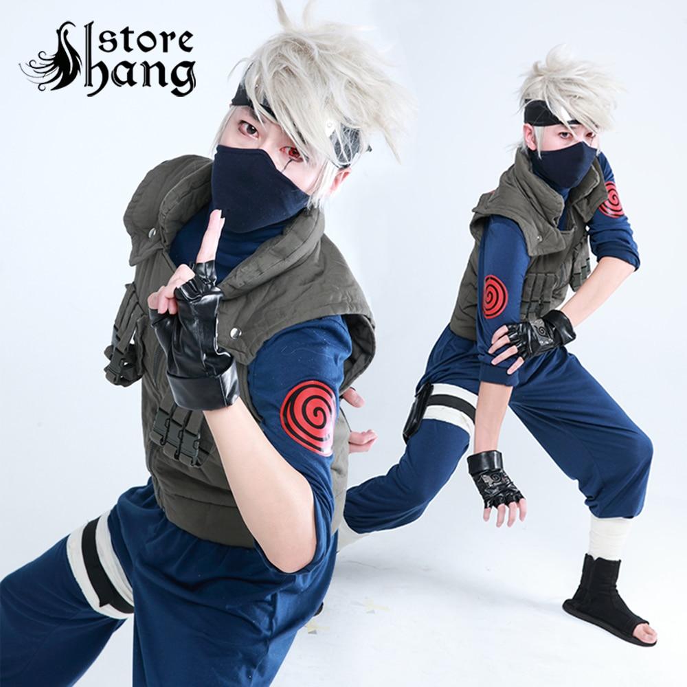 Naruto Cosplay Costume Kakashi Cosplay Hatake Kakashi Ninja Uniform Costume+Band+Gloves Cosplay Suit  Halloween Costume for men doctor bag