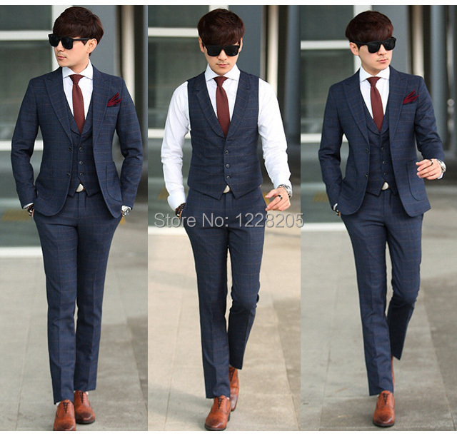 Mens Skinny Fit 3 Piece Suits Dress Yy