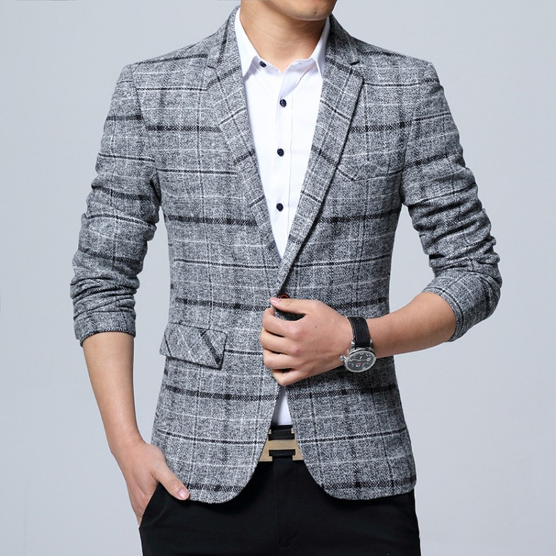 2018 Fashion Men Business Plaid Blazer Casual Stripes Slim Fit Blazers Men Top Qiality Lattice Formal Jacket Popular Dress Suit