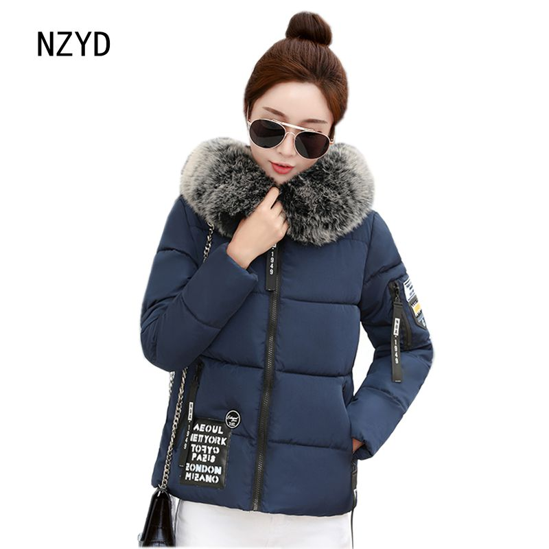 Winter Women Short Coat 2017 New Fashion Hooded Warm Long sleeve Cotton Jacket Patchwork color Loose Big yards Parkas LADIES298 women winter parkas 2017 new fashion hooded thick warm patchwork color short jacket long sleeve slim big yards coat ladies210