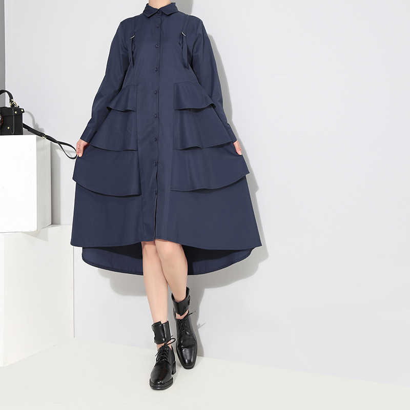 Nouveau 2019 Style coréen femmes automne bleu marine chemise Robe à manches longues en cascade à volants dames élégant fête Robe Midi 3807