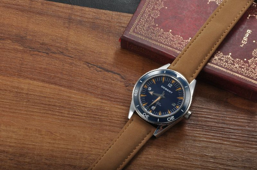 Debert 41mm Sapphire Glass Watch Brown Leather Strap Miyota Mov't Automatic Horloges Blue Dial Rotatable Ceramic Bezel Relojes jubaoli rotatable bezel male watch quartz leather strap wristwatch