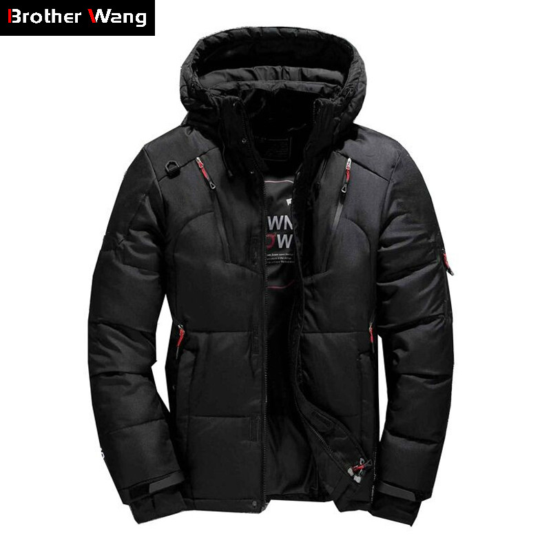 2019 Winter New Men's Down Jacket Fashion Casual Hooded Slim Fit Warm Thick White Duck Down Coat Brand Clothes Blue Orange