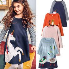 Новейшее платье для маленьких девочек с изображением животных, платья принцессы с длинными рукавами, Детская осенняя одежда для детей