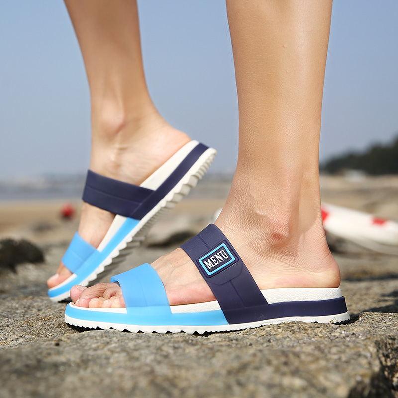 LAISUMK Summer Beach Men Slippers Casual Shoes Double Buckle Man Slip on Flip Flops Flats Camouflage Flip Flop Indoor & Outdoor 96