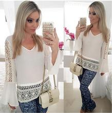 2017 New Top Long Bell Sleeve Blouse Women Hollow Out Lace Floral Shirt Female Clothes Women Tunic Long Sleeve Clothing