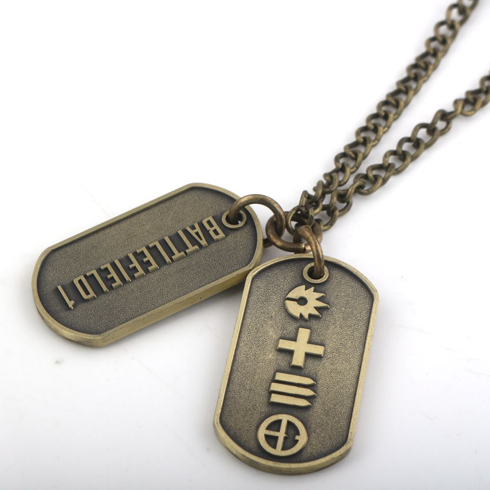 2 color Battlefield 1 Game Limited Edition Dog Tag Cos necklace double pendant
