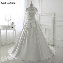 Real Picture Elegant Ivory Lace Wedding Dresses Long Sleeves Satin Wedding Dress Bow Vestido de noiva Ball Bride Robe Mariage