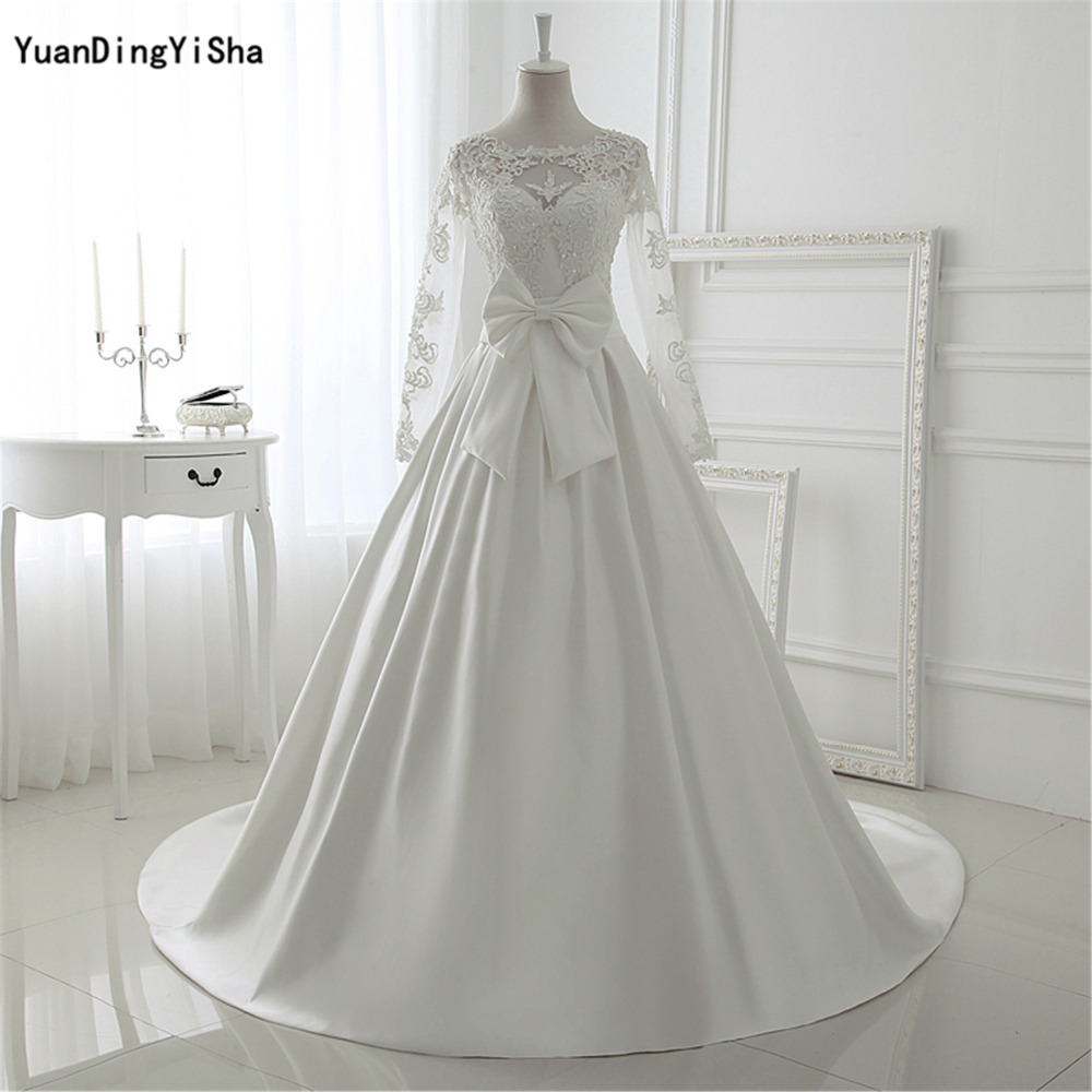 Elegant Silk Wedding Dresses With Sleeves: Real Picture Elegant Ivory Lace Wedding Dresses Long