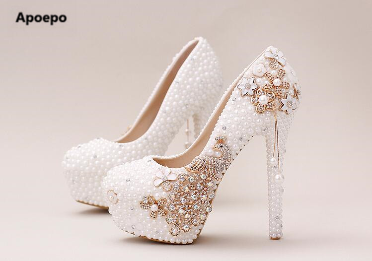 Apoepo brand mary janes shoes women Handmade platform pumps crystal phoenix high heels shoes bling bling wedding dress shoes apoepo handmade wedding bride shoes bling bling crystal pregnant shoes 3 5 cm increased internal low heels shoes mary janes shoe