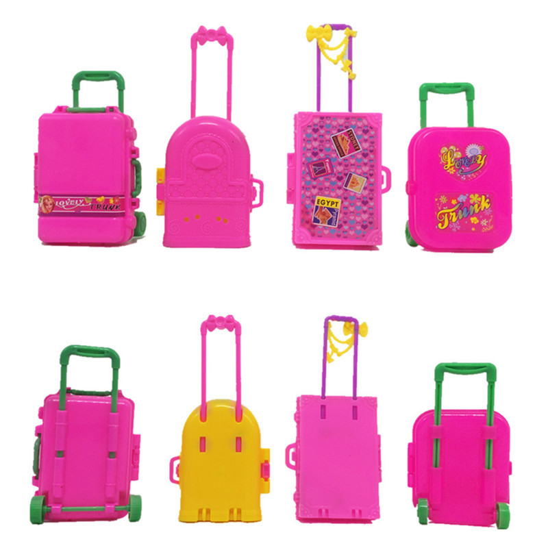 Barbie Doll Furniture Play House 3D Travel Train Suitcase Luggage Girls Toy Gift