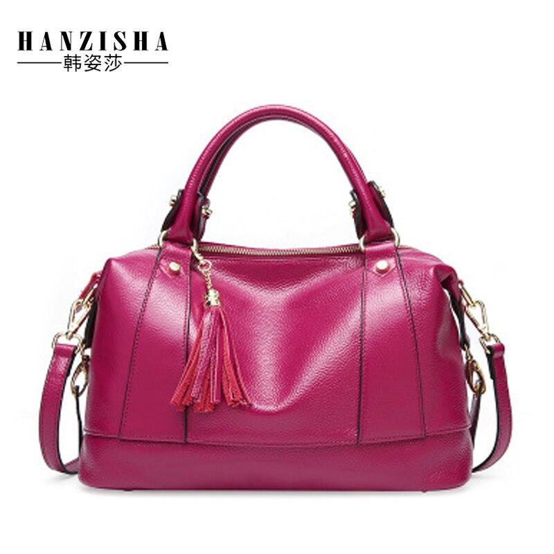 2018 Fashion Cow Leather Women Boston Bag Famous Brand Women Handbag Luxury Design Leather Female messenger Shoulder BagTote Bag цены