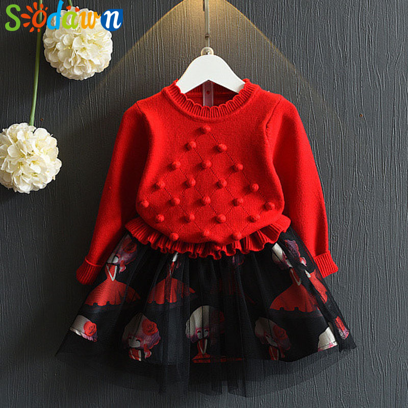 Sodawn Girls Dress Autumn New Fashion Knitted Long Sleeves Pompon Princess Dress Kids Clothign Girls Clothes Dress fashion polyester long sleeves dress black page 4