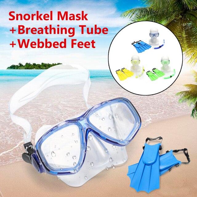 442f33154 Kid Crianças Snorkel Máscara Óculos de Mergulho + Tubo de Respiração + Pés  de Pato Natação