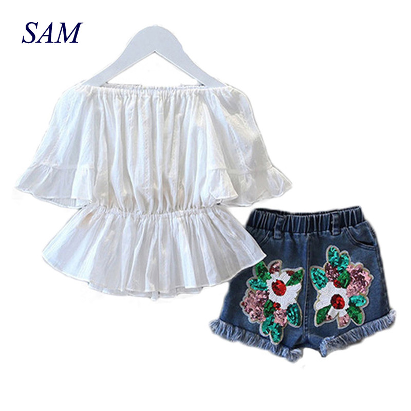 2019 New Girls Fashion Suit Summer Word Bahu T-shirt dan Sequin Denim Shorts 2pcs / Set Pinggang Baju Set Pakaian Kanak-kanak