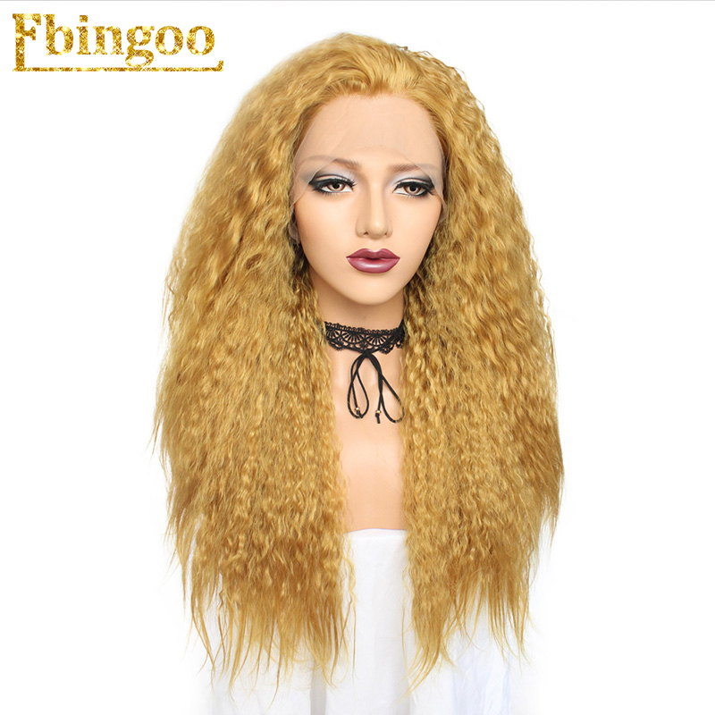 Ebingoo Kinky Curly High Temperature Fiber Perruque 24 Inch Blonde Orange Brown Synthetic Lace Front Wig