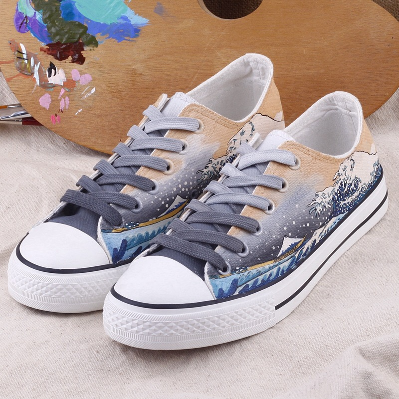 Low Cut Canvas Casual Hand Painted Comfortable Fashion 2019 Women Plus Original Flat Sneakers Spring Autumn Lace Up Graffiti