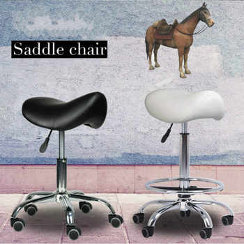 Cosmetology Haircut Stool Creative Saddle Chair Lifted Swivel Chair with Footrest Adjustable Salon Chair Ergonomics Seat