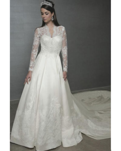 charming white ivory satin lace long sleeve wedding dress size 6 8 ...