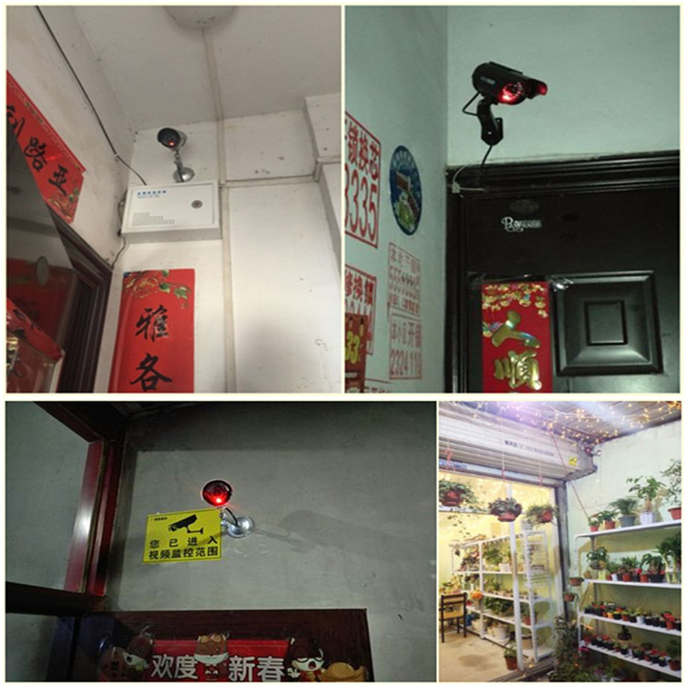 ZILNK 2pcs/lot Outdoor Fake Camera Bullet Home CCTV Surveillance Security Waterproof Dummy Camera With Flashing Red LED Black