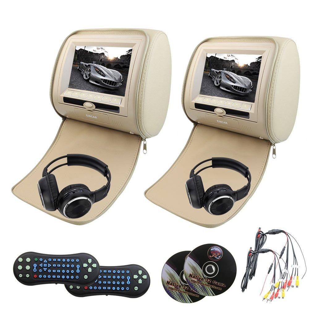 купить 2 pcs LCD Dual Screen Headrest monitor DVD player USB/DVD/CD/MP3/MP4 play FM transmitter IR monitor pillow+free 2 IR headphones по цене 11908.4 рублей