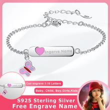 Personalized Custom Name Bracelet 925 Sterling Silver Pink Butterfly Chain Bracelet for Baby Girls Kids Jewelry Christmas Gift