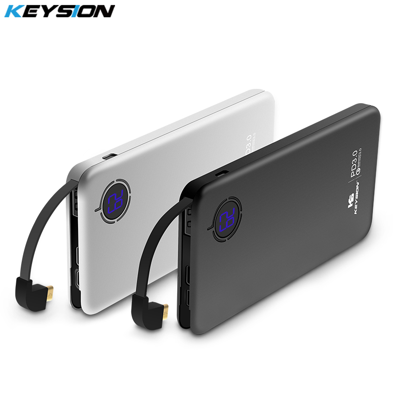 KEYSION 8000 mah 29.6Wh Typ-C PD Schnelle Ladung Power Bank 18 watt 3-port QC3.0 Schnell Lade handy Externe Batterie Power