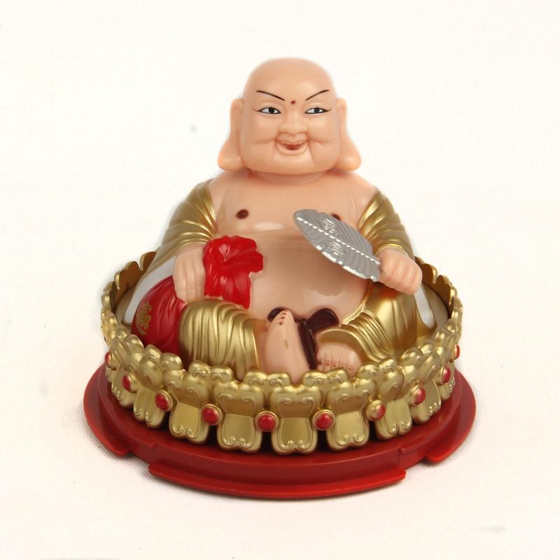 Solar Lord Buddha Lucky perpetual peace woo car accessories Lohan Laughing Maitreya - Jilihongbang (shen zhen store Technology Co.,Ltd)