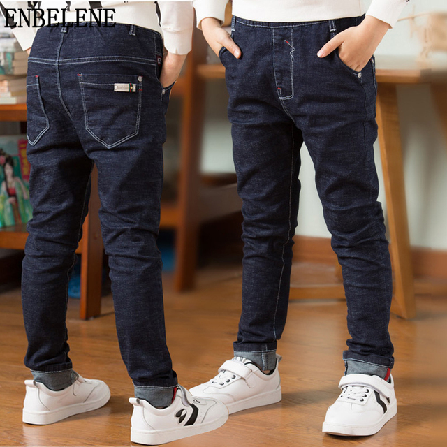 43a8d8b3 2018 spring new boys cotton jeans children straight elastic blue black big  kids autumn denim pants