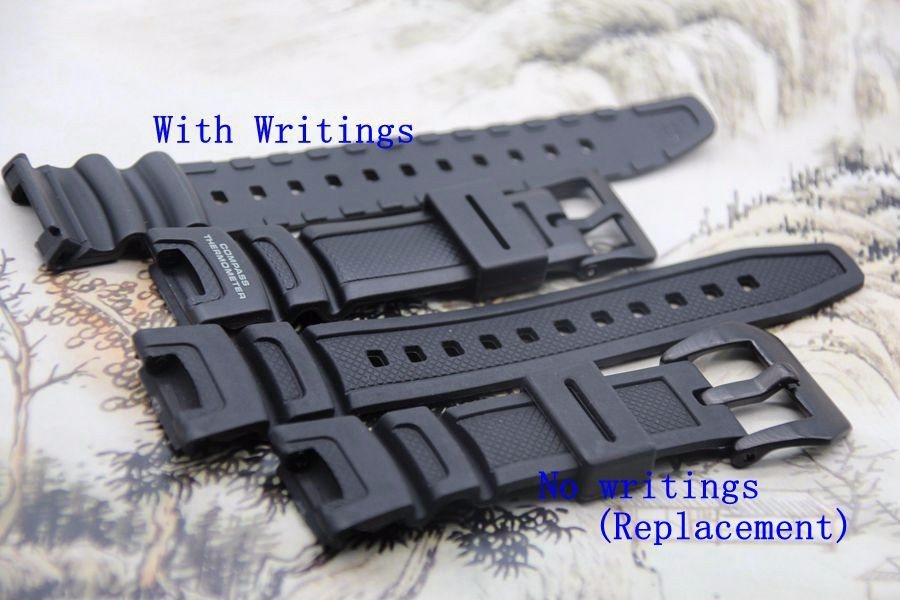 Replacement Watchband black silicone rubber bracelet for font b Casio b font SGW 100 font b