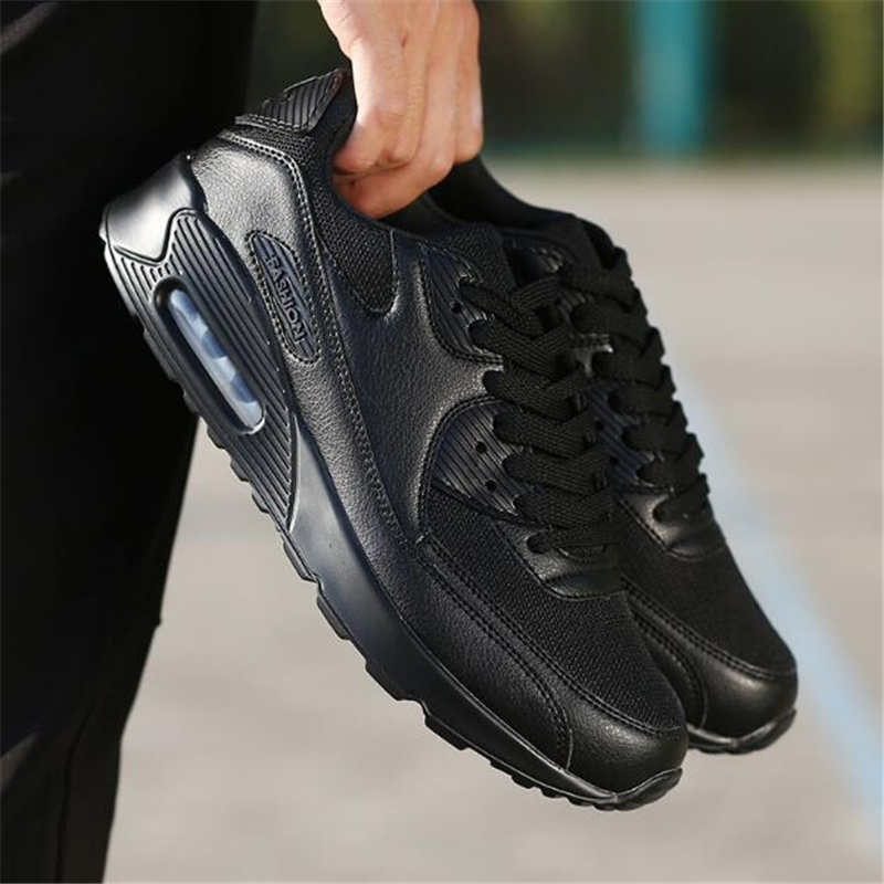 2018 Autumn PU Leather Designer Sneakers Men Black Breathable Mesh Running Shoes for Women Air Cushion Sports Shoes Jogging 902018 Autumn PU Leather Designer Sneakers Men Black Breathable Mesh Running Shoes for Women Air Cushion Sports Shoes Jogging 90