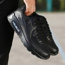 2018 Autumn PU Leather Designer Sneakers Men Black Breathable Mesh Running
