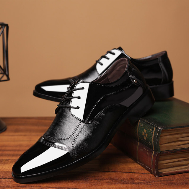 Leather Shoes Pointed Men Ballroom Dance Bureau Dress Shoes Man Baita Wedding Shoes Latin Prom Sports Dance Shoes Large Size 2